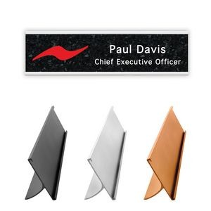 "Full Color Nameplate w/Aluminum Holder - Desk (2""x8"")"
