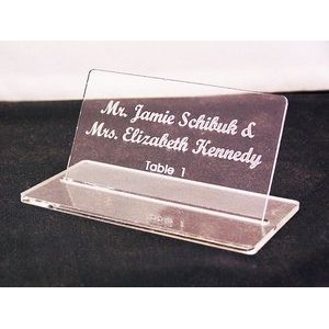 "2"" x 3.5"" - Clear Acrylic Table Signs - Laser Engraved - USA-Made"