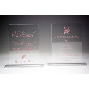 "5"" x 7"" - Clear Acrylic Table Sign - Color Printed - USA-Made"
