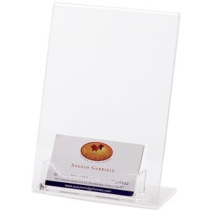 "Acrylic Holder w/Business Card Pocket (5""x7"")"