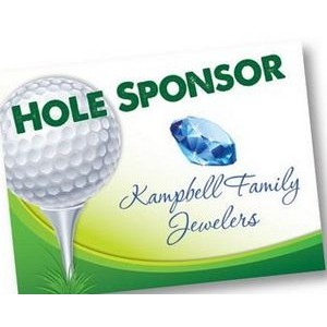 "Hole Sponsor Golf Sign w/Golf Ball on Tee (Horizontal, 12""x18"")"
