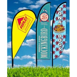 Zoom 3 Teardrop Flag w/ Stand - 10ft Double Sided Graphic