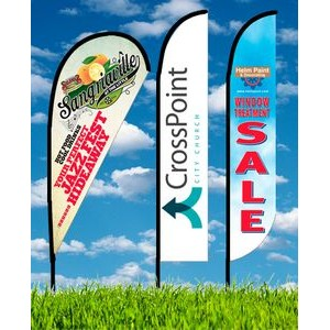 Zoom 4 Feather Flag w/ Stand - 13ft Single Sided Graphic