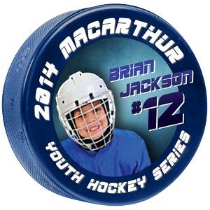 4 Color Process Digitally Printed Light Blue 4 oz Junior Hockey Pucks - SINGLE SIDE PRINTING