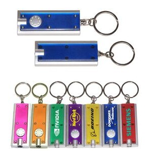 Slim Rectangular Flashlight with Swivel Key Chain (Translucent Blue)