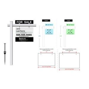 "Real Estate Post Signs - 6 Ft. Tall - Small 24"" x 18"" Sign"